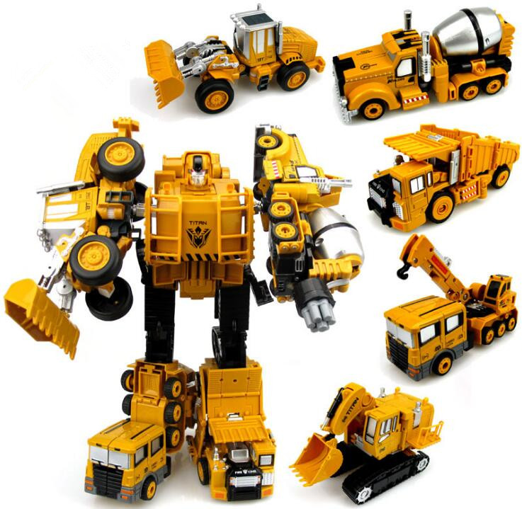 все цены на Transformation Robot Car Metal Alloy Engineering Construction Vehicle Truck Assembly Deformation Toy 2 in 1 Robot Kid Toys Gifts