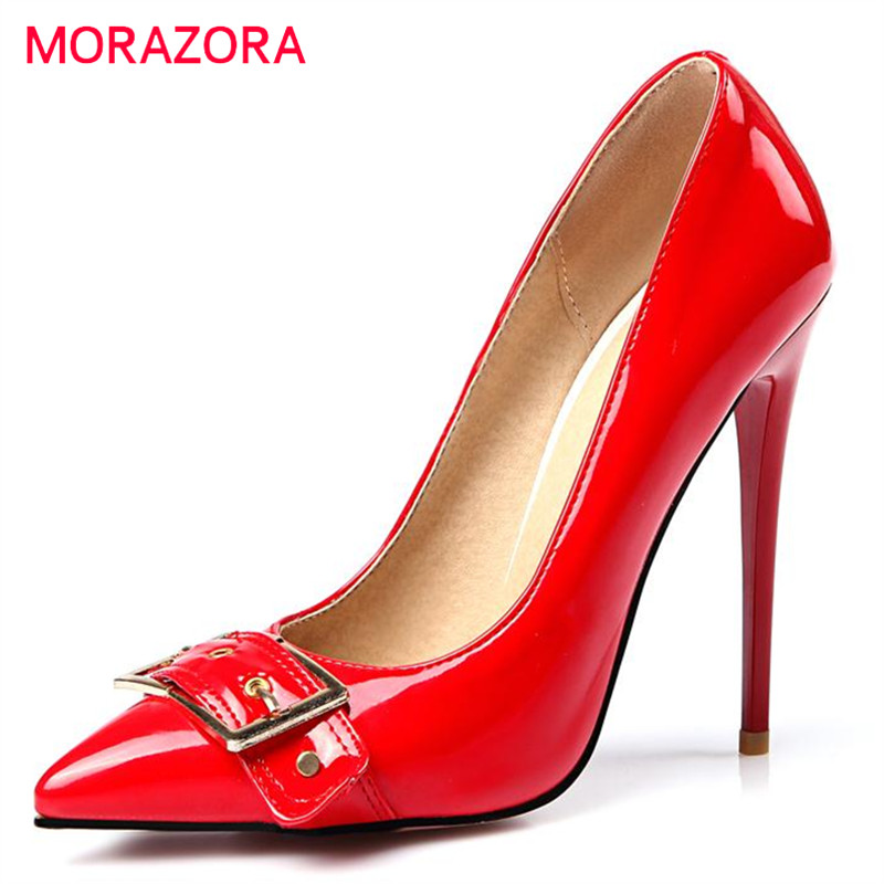 MORAZORA Thin high heels shoes big size 34-47 women pumps wedding party shoes shallow pointed toe four seasons shoes fashion big size 11 12 fashion pointed toe shallow casual thin heels women s shoes extreme high heels pumps woman for women