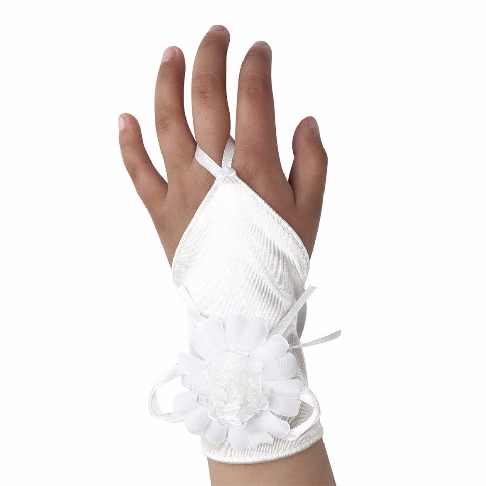 Girls WHITE Satin First Communion Gloves with Pearl. SNS605