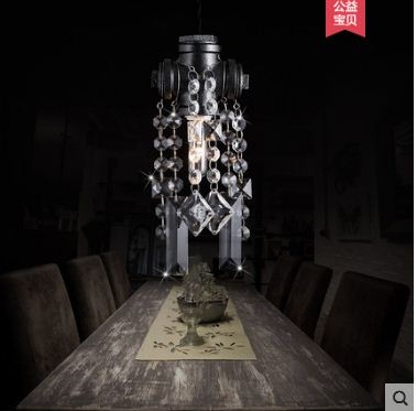 Industrial wind guest dining bedroom bar table decoration European retro creative atmosphere crystal water pipe chandelier