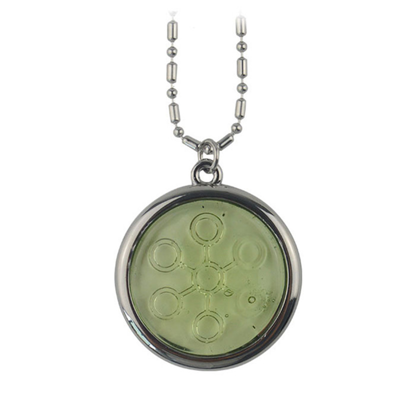 5PCS LOT 5000 6000CC Bio Disc Pendant with Negative Ions light green Stainless Steel Chain Necklace