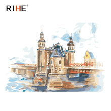 RIHE Bridge Castle Diy Painting By Numbers Oil On Canvas Hand Painted River Cuadros Decoracion Acrylic Paint Home Decor