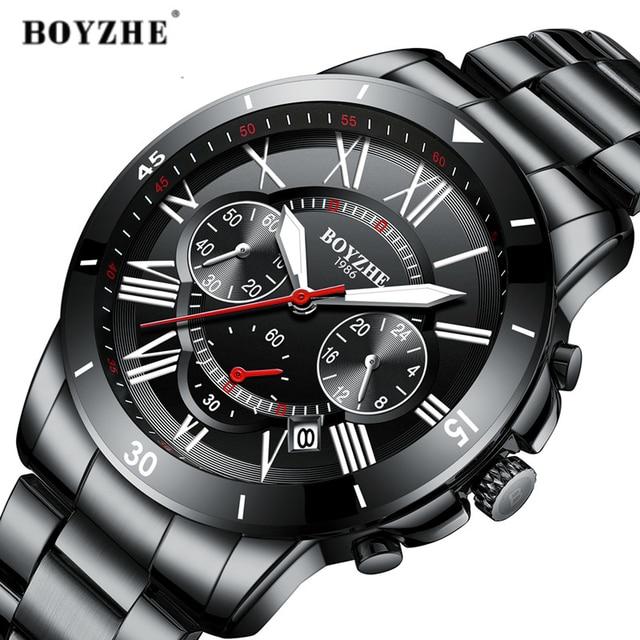 39c614dc98e7 Relojes de cuarzo para hombre de marca de lujo BOYZHE relojes de moda de acero  inoxidable