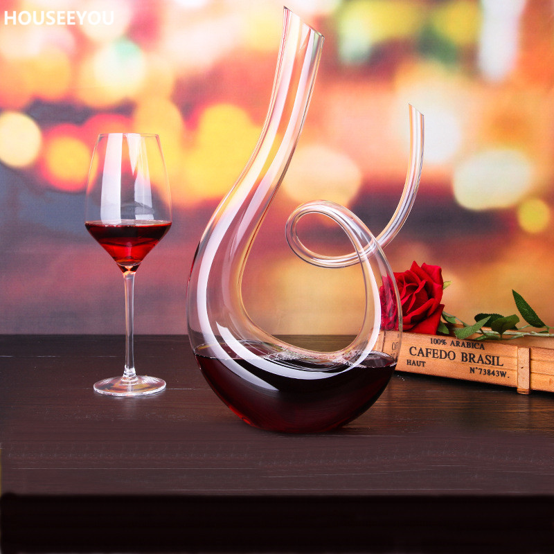 1500ml Lead free Crystal Glass Decanter Handmade Healthy Wine Bottle Transparent Kitchen Bar Sets Mouth Blown Barware Supplies-in Decanters from Home & Garden    2