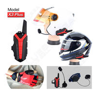 Free Shipping Bluetooth Motorcycle Helmet 1 5 3KM Group Intercom Headset Walkie Talkie X3 Plus