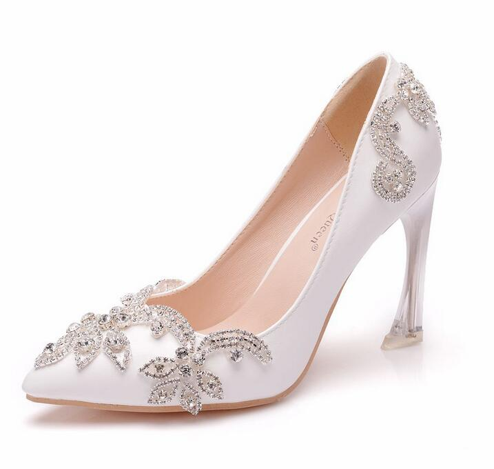 Crystal Queen Women Sandals Sexy White High Heels Shoes Bow Luxury Rhinestone Tassels Wedding Party Shoes
