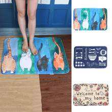 Lovely Cat Tableware Letters Anti-slip Doormat Rug Carpet Mat Home Floor Decor Hot(China)