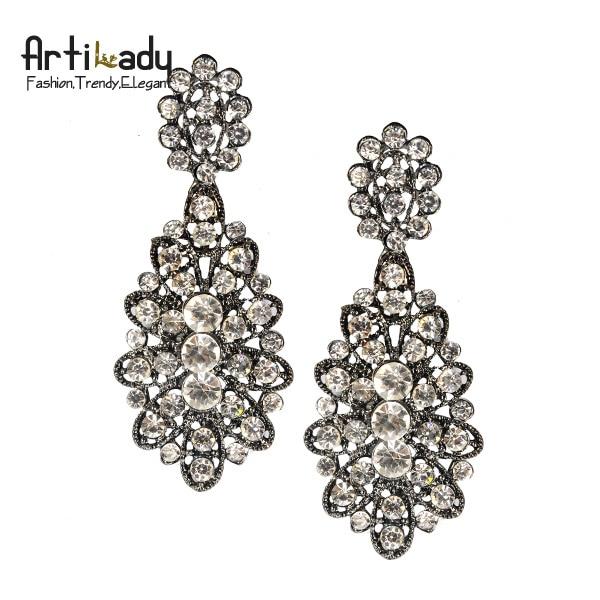Artilady vintage full crystal drop earrings  fashion 2013 winter design statement women earring jewelry free shipping