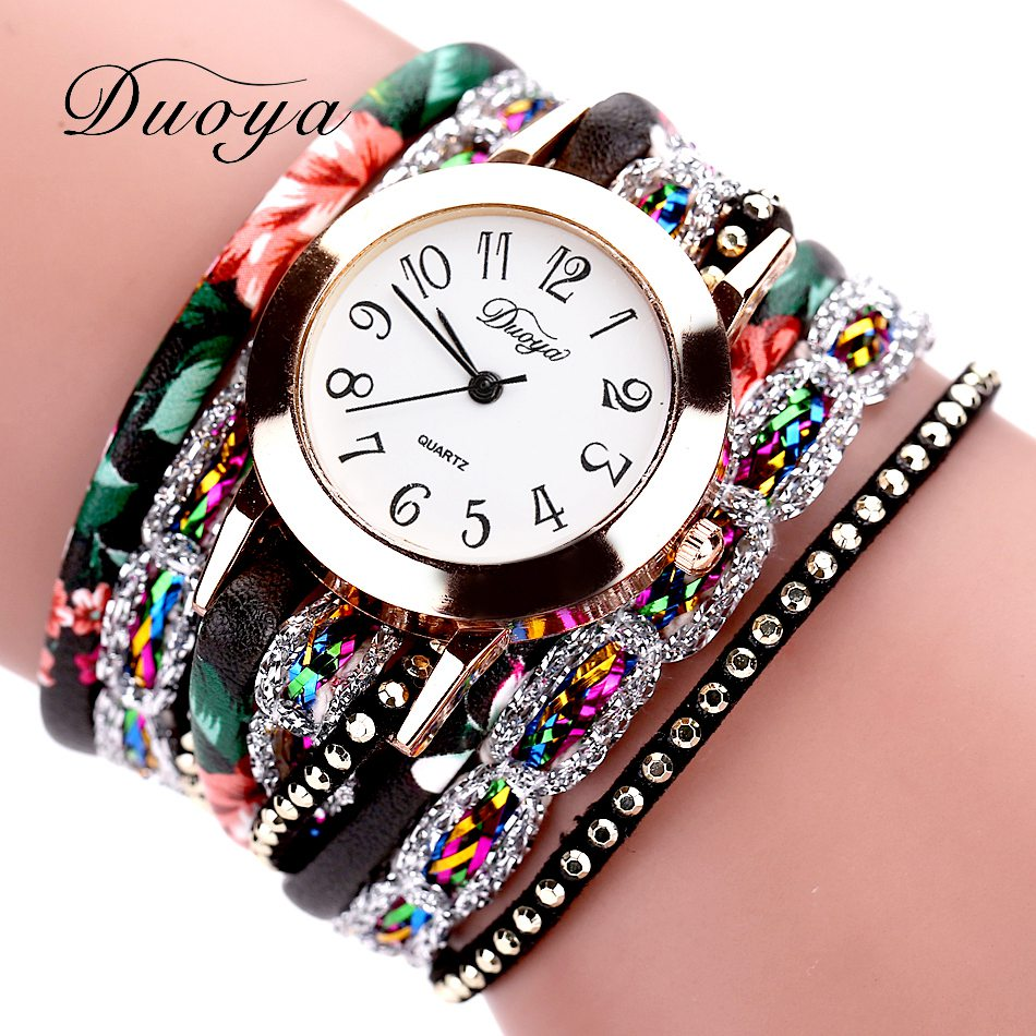 Duoya Brand Fashion Round Dial Quartz Watch Women Flower Wristwatch Steel Luxury Bracelet Watch Multilayer Leather Wrist Watch duoya fashion luxury women gold watches casual bracelet wristwatch fabric rhinestone strap quartz ladies wrist watch clock