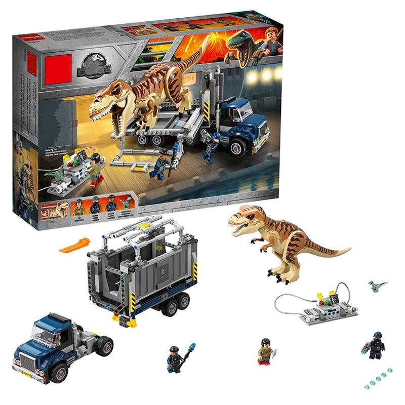 631 pièces Jurassic World 2 T. Rex Transport dinosaure blocs de construction Kit 75933 dinosaure chiffres briques modèle jouets cadeau