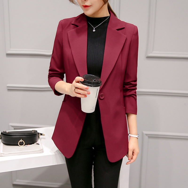 Autumn Wine Red Black Women Blazers And Jackets   Single Button Blazer Femenino Ladies Blazer Female