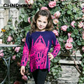 Дети одевается для gi Новый Год в Европейском стиле девушка моды свитер архитектуры вышивка трикотажные рубашки шею девушки теплый одежда