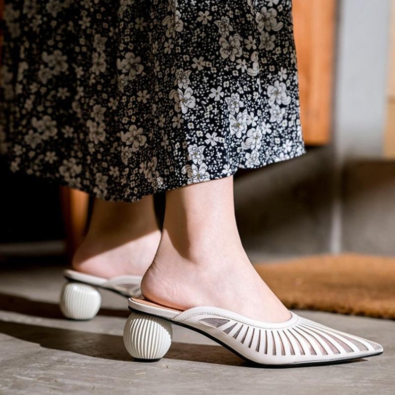 Tout nouveau bout pointu été femmes chaussures mode étrange talon femmes chaussures à talons hauts Air Mesh confortable élégant chaussures femme