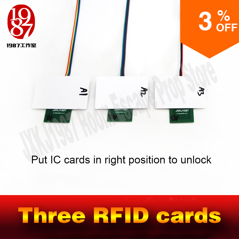 RFID prop room escape adventurer game prop rfid prop put four ic cards in one to one relationship to unlock with audio JXKJ1987|adventure| |  - title=