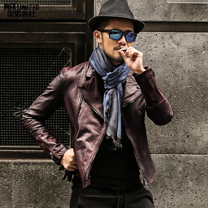 New Mens Leather Jacket Slim Fit Biker Motorcycle Genuine Leather Coat T584