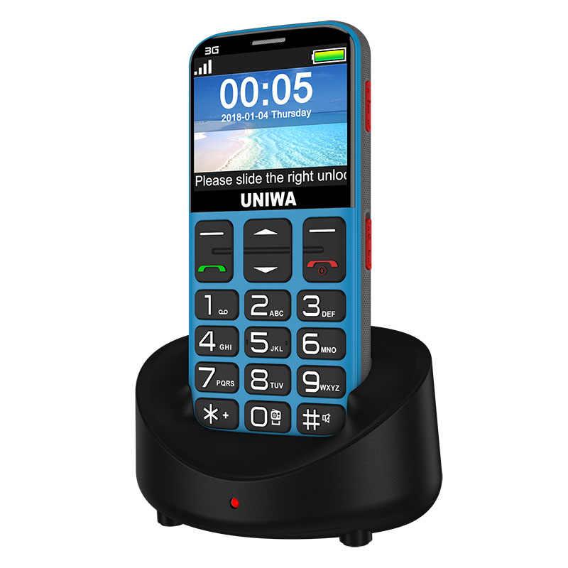 Uniwa V808G 2.31 Inch Điện Thoại Di Động 3G Wcama ĐTDĐ Cao Cấp Cho Ông Già SOS 1400 MAh Nga 2G Điện Thoại Cho Người Cao Tuổi