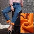 Cachemira Invierno Gruesos Pantalones Calientes de terciopelo Skinny Jeans Mujer Pantalones de Cintura Alta Pantalones Vaqueros de Las Muchachas Pantalones Vaqueros Flojos Elásticos Pantalones de Mezclilla stret
