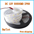 LED strip SMD 5050 DC12V Waterproof IP68 flexible light 60LEDs/m,Cold white,Warm White,Red,Green,Bule,RGB 5m/lot