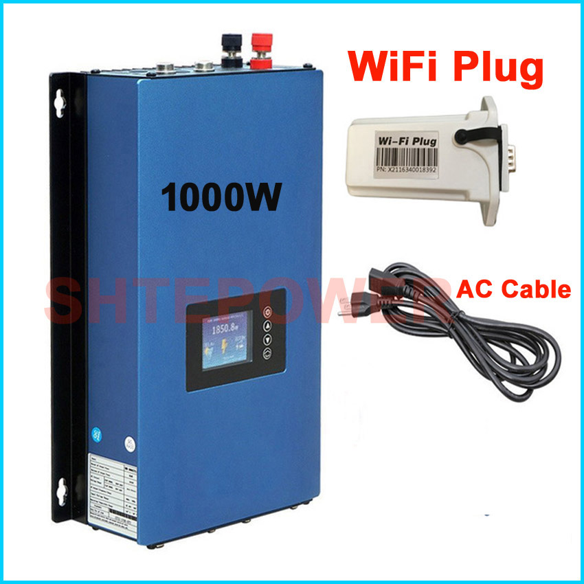 Grid tie connected solar power inverter 1000w New generator with wifi plug MPPT discharge battery working mode DC 24v to AC220v new grid tie mppt solar power inverter 1000w 1000gtil2 lcd converter dc input to ac output dc 22 45v or 45 90v