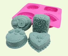 3d soap molds silicone heart shape flower Pig Coin Pattern cake making mold Hand made Craft Bath Soap Mould