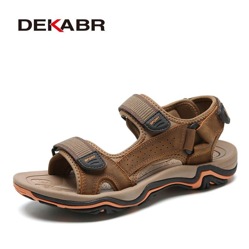 Image 5 - DEKABR High Quality Summer Men Sandals Real Leather NonSplit Soft Comfortable Men Shoes New Fashion Men Casual Shoes Size 39~45Mens Sandals   -