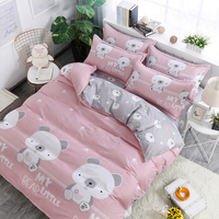 Four Piece Home Textile Bedding Aloe Cotton Quilt Cover Set Rural Fashion Duvet Cover Series Printing Sandin Process Bed kit