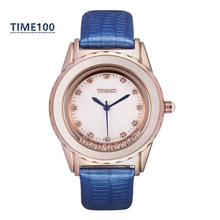 Top Quanlity Women's Brand Watch Flowing Crystal Purple Leather Strap Ladies Casual Dress Original Wrist Watches W028