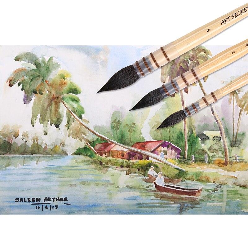 4 pennelli rotondi con setole di scoiattolo pittura artistica con 2 spazzole larghe in lana 6 pezzi guazzo con sacchetto Set di pennelli professionali per acquerelli per pittura OOKU