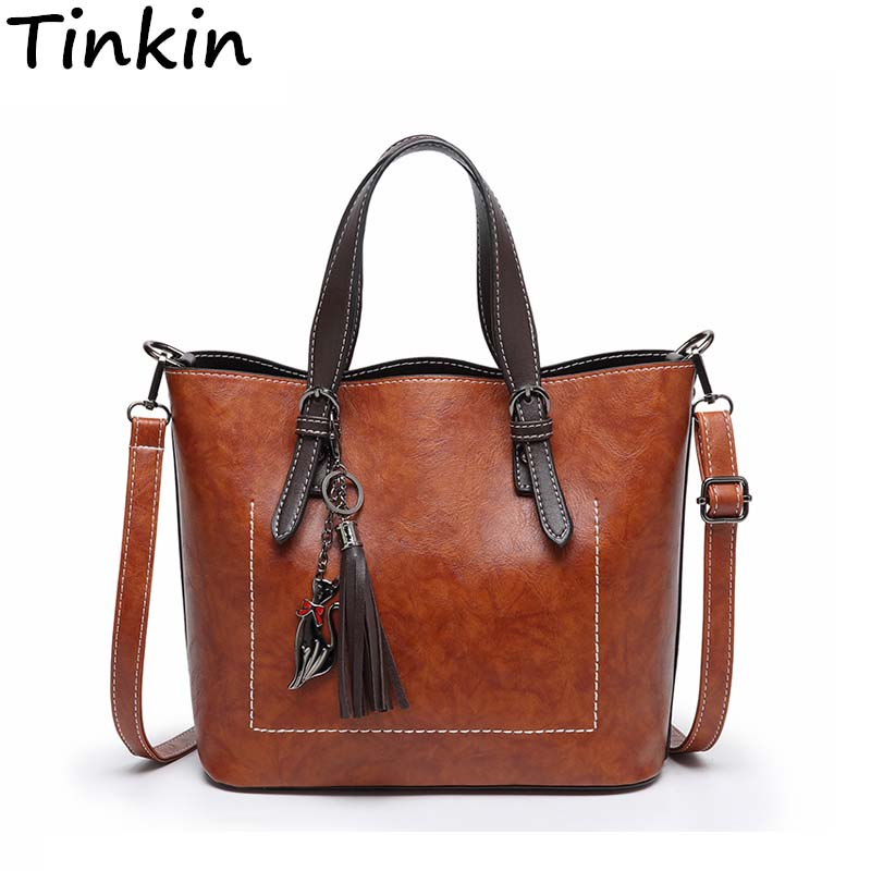Tinkin Designer Women Shoulder Bag Fashion Vintage Leather Handbag Glamorous Female Messenger Bags Retro Crossbody Bag women tote vintage female cow leather handbag designer brands shoulder crossbody bag embroidered messenger cross body bags purse