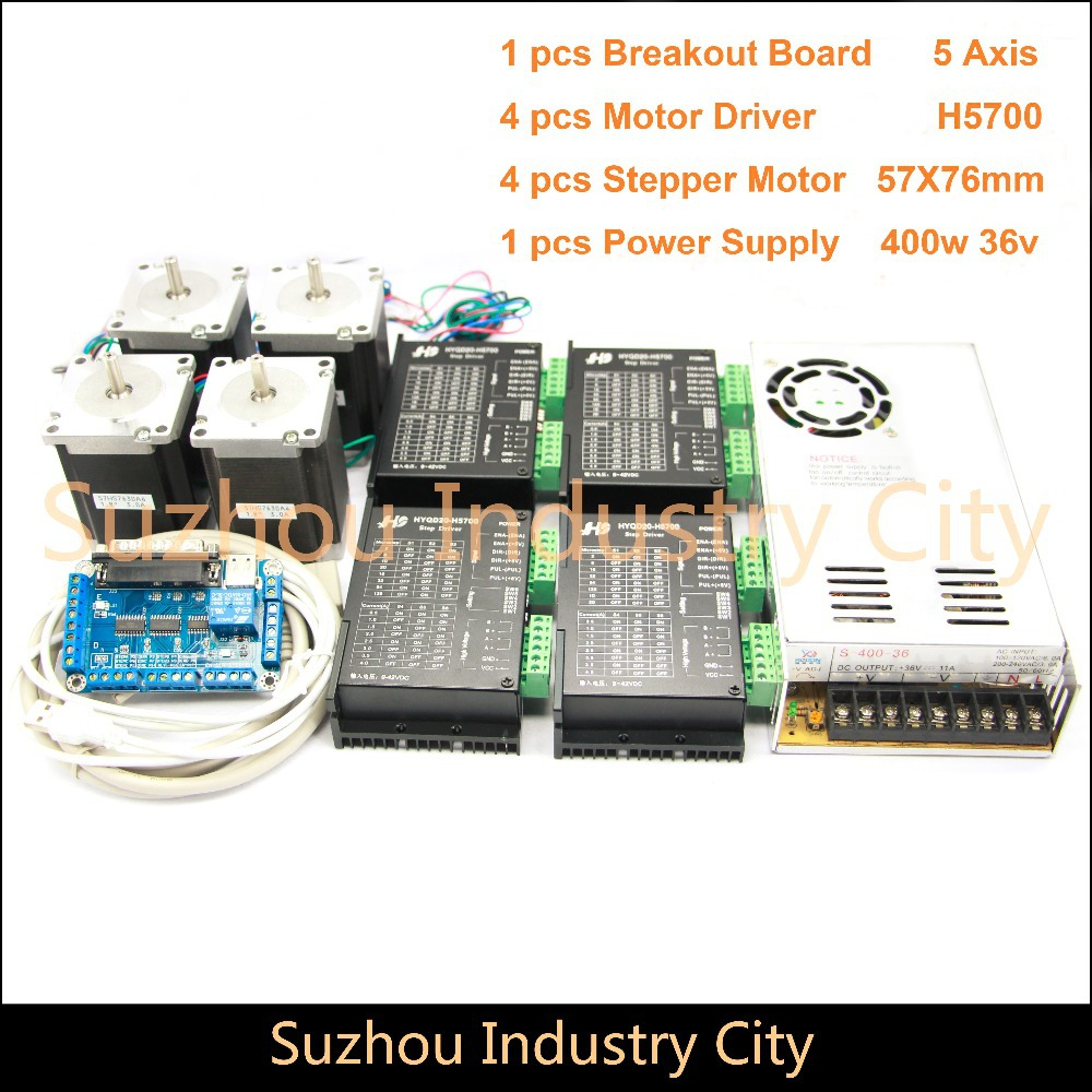 4Axis CNC stepper motor control kits name23 stepping motor + Driver 9-42VDC,4A+Power supply switch 400w 36v+5axis breakout board