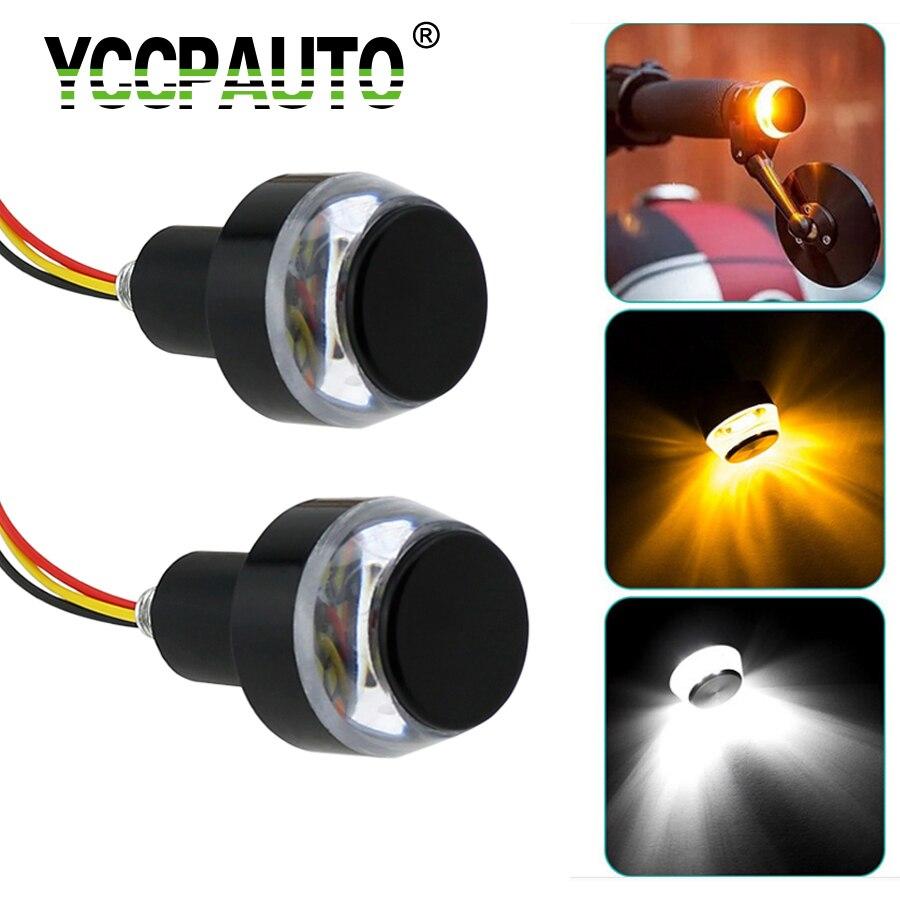 YCCPAUTO Motorcycle Handlebar LED Turn Signal Light White Amber Dual Color Handle Bar Side Marker Indicate Lamp Grip Plug 2PCS