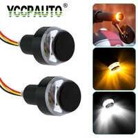 YCCPAUTO moto guidon clignotant LED blanc ambre double couleur poignée barre latérale marqueur indiquer lampe poignée prise 2 pièces