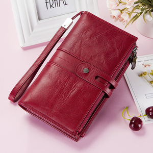 Image 2 - Cellphone Clutch Bag For Ladies Genuine Leather Women Phone Wallets Large Red Zipper Coin Purse Card Holder Trifold Long Wallet