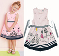 Retail summer dress 2016 New girls clothing Cartoon Bicycle Printing Dress Pink Sweet Sundresses Fashion accept waist Girl Dress