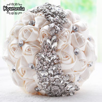 Gorgeous Crystal Wedding Bouquet Red Brooch Bouquet Wedding Accessories Bridesmaid Artifical Wedding Flowers Bridal Bouquets FE8