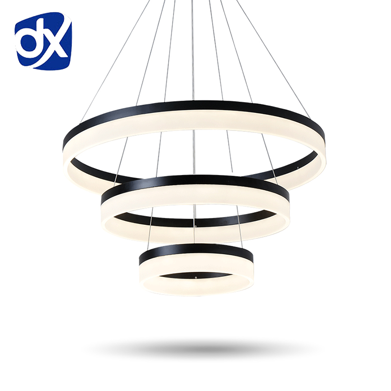 Moderne Creative Pendentif Lumière Salon Salle À Manger 3/2 Cercle Anneaux Acrylique Corps En Aluminium LED Éclairage Plafond Lampe Appareils