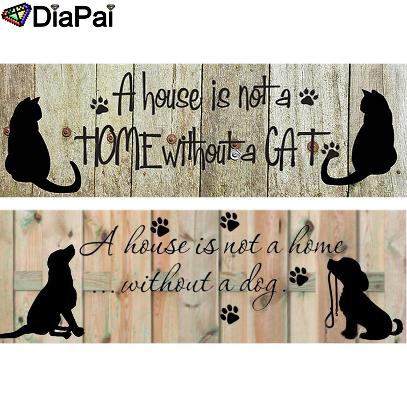 DIAPAI Diamond Painting 5D DIY 100 Full Square Round Drill quot Cat Dog Home quot 3D Embroidery Cross Stitch Home Decor in Diamond Painting Cross Stitch from Home amp Garden