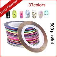 37色500ピース/セット熱い3dメタリックネイルロールスロイスストライピングテープ糸ラインdiyクリエイティブネイルステッカー装飾ツール