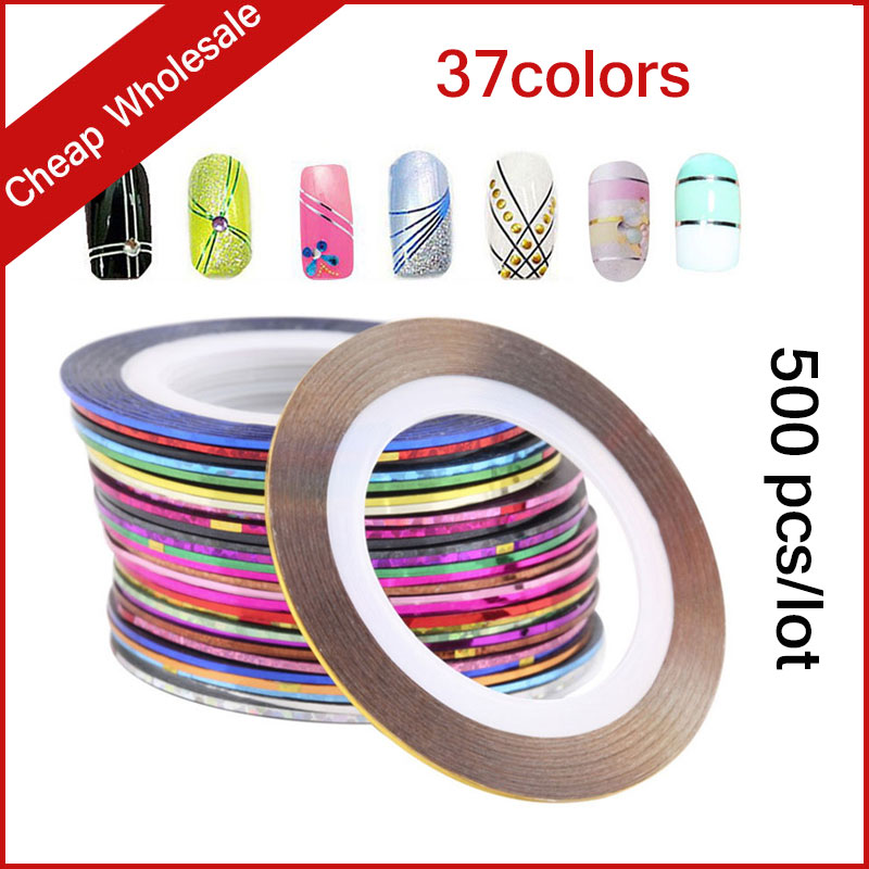 37Colors 500pcs/set Hot 3d Metallic Nail Rolls Striping Tape Yarn Line DIY Creative Nail Sticker Decoration Tools 10pcs pack 2mm mix colors rolls metallic adhesive striping tape wide line diy nail art tips strip sticker decal decoration kit