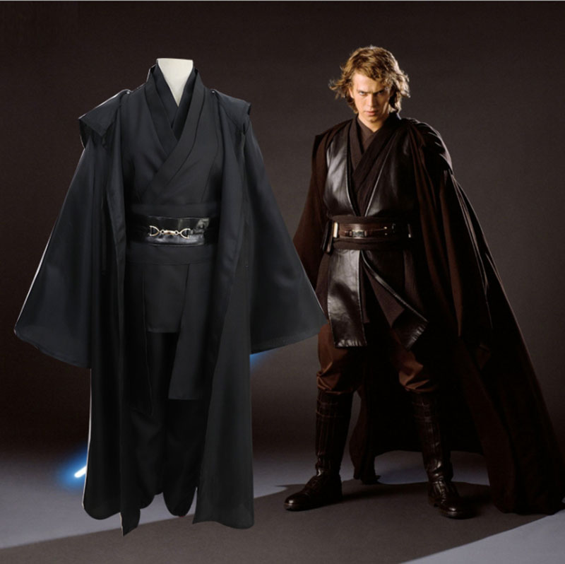 Star Wars Cosplay Anakin Skywalker Replica Jedi Robe Halloween Fantasia Male Cosplay Jedi Costume Black For Men Plus Size 3XLMovie & TV costumes   -