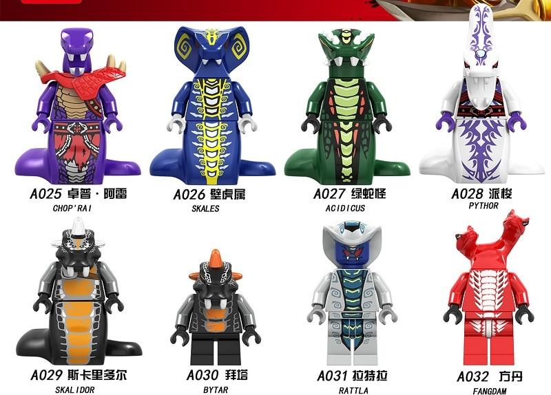 80PCS A025 032 Ninjagoes Series Snake Acidicus Skales Rattla Bytar Pythor With Weapons Monsters Building Blocks