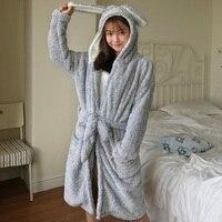 Women's Robes Cute Cartoon Cat Hooded Oneside Bath Robe Plush Coral Fleece Kigurumi Nightgowns Female Winter Thicken Sleepwear