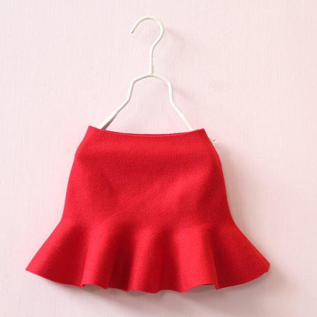 2017 Baby Girls Clothes Cute Children Clothing Autumn GirlsTutu Skirt Solid knited Kids Skirt Elastic Waist Fishtail Baby Skirt