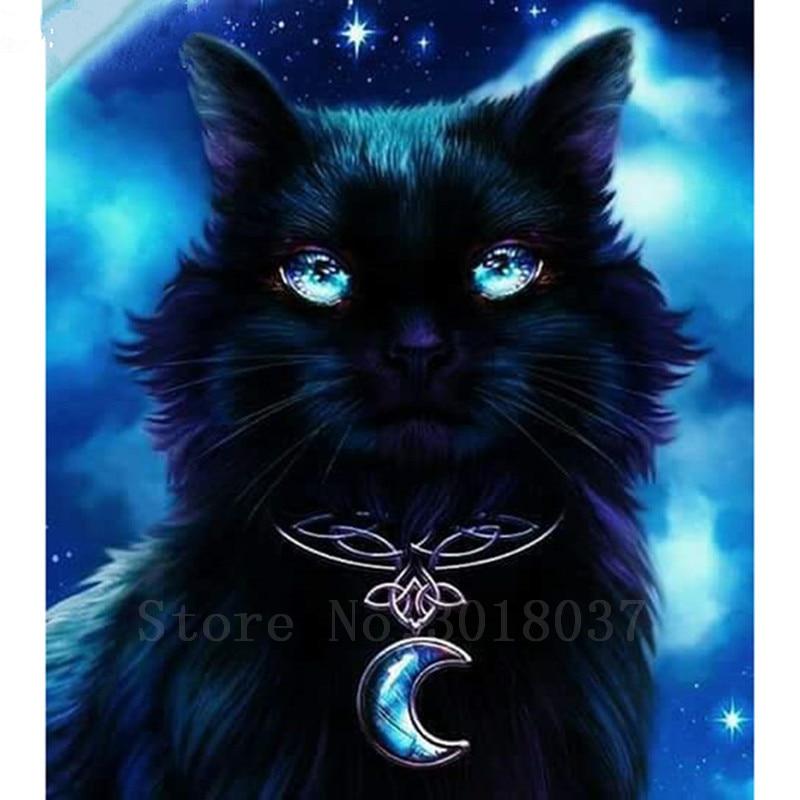 Diy Diamond Painting Diamond Cross Stitch Black Cat с - Изкуства, занаяти и шиене - Снимка 1