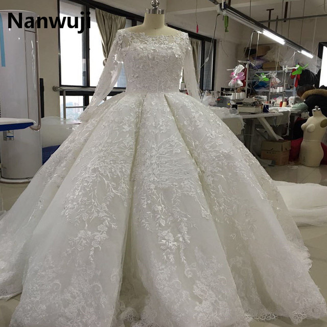 2017 New Luxury Long Sleeve Muslim Wedding Dress Ball Gown Style ...