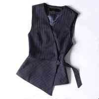 2018 Autumn fashion and elegant women skirt vest suit for summer short suits work wear office ladies formal suit stripe clothes
