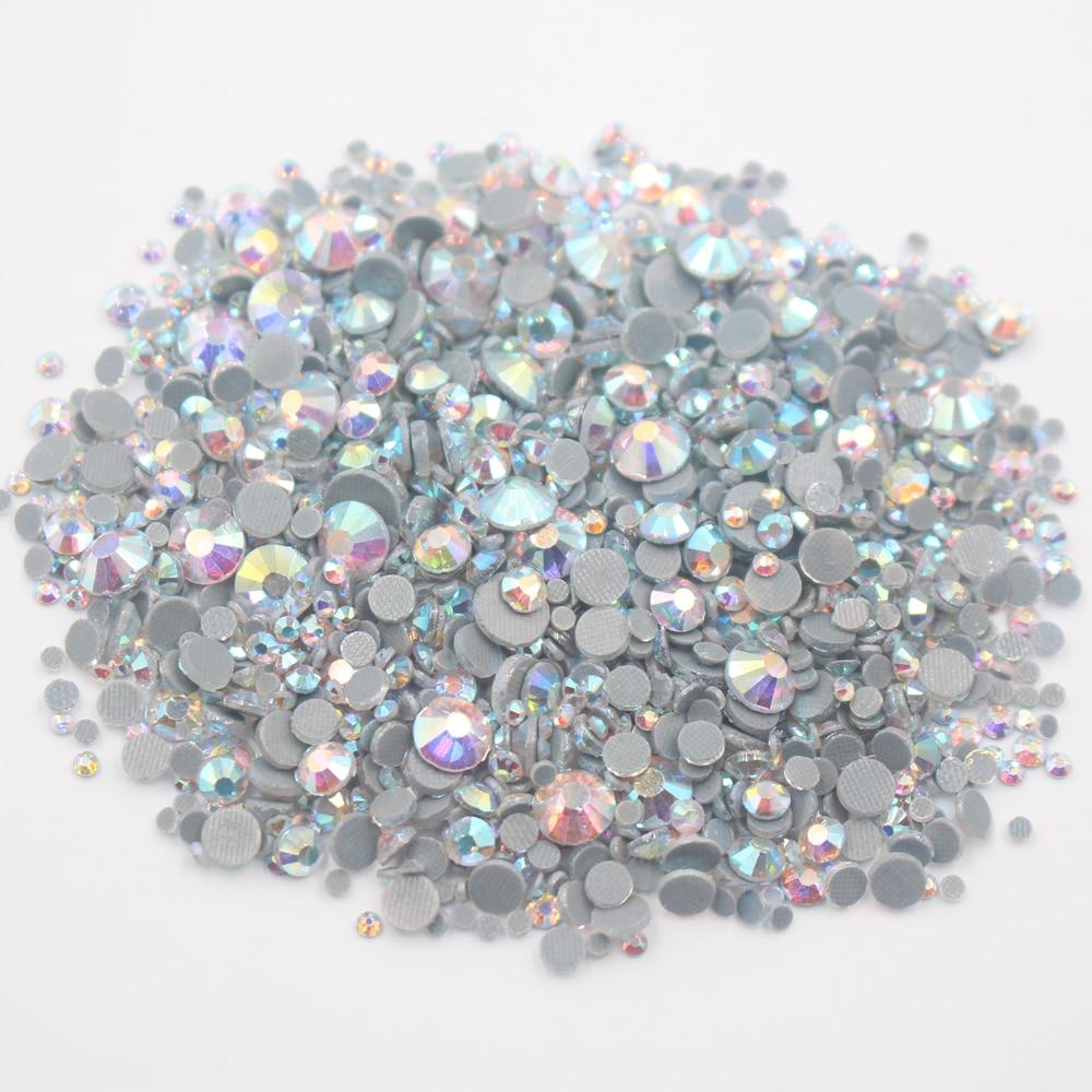 HotFix Rhinestones 2500pcs Mix Size High Quality Shiny CrystalAB crystals Strass Stone Glue Back Iron On Rhinestones For Clothes
