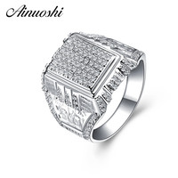 AINOUSHI 925 Sterling Silver Men Wedding Engagement Rings Sona Male Silver Accessaries Anniversary Party Rings Jewelry Gifts