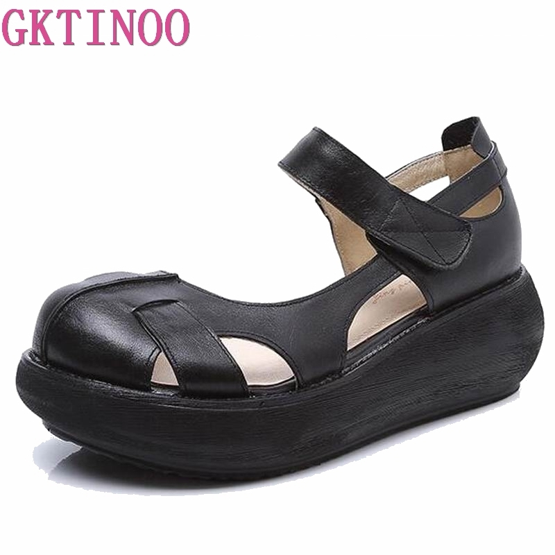 Summer comfortable sandals female round toe leisure shoes high heel wedges sandals platform shoes genuine leather