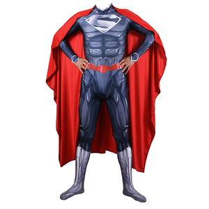 Image 3 - Adult Men Superman Clark Kent Cosplay Costume Zentai Superhero Bodysuit Suit Jumpsuits Cloak